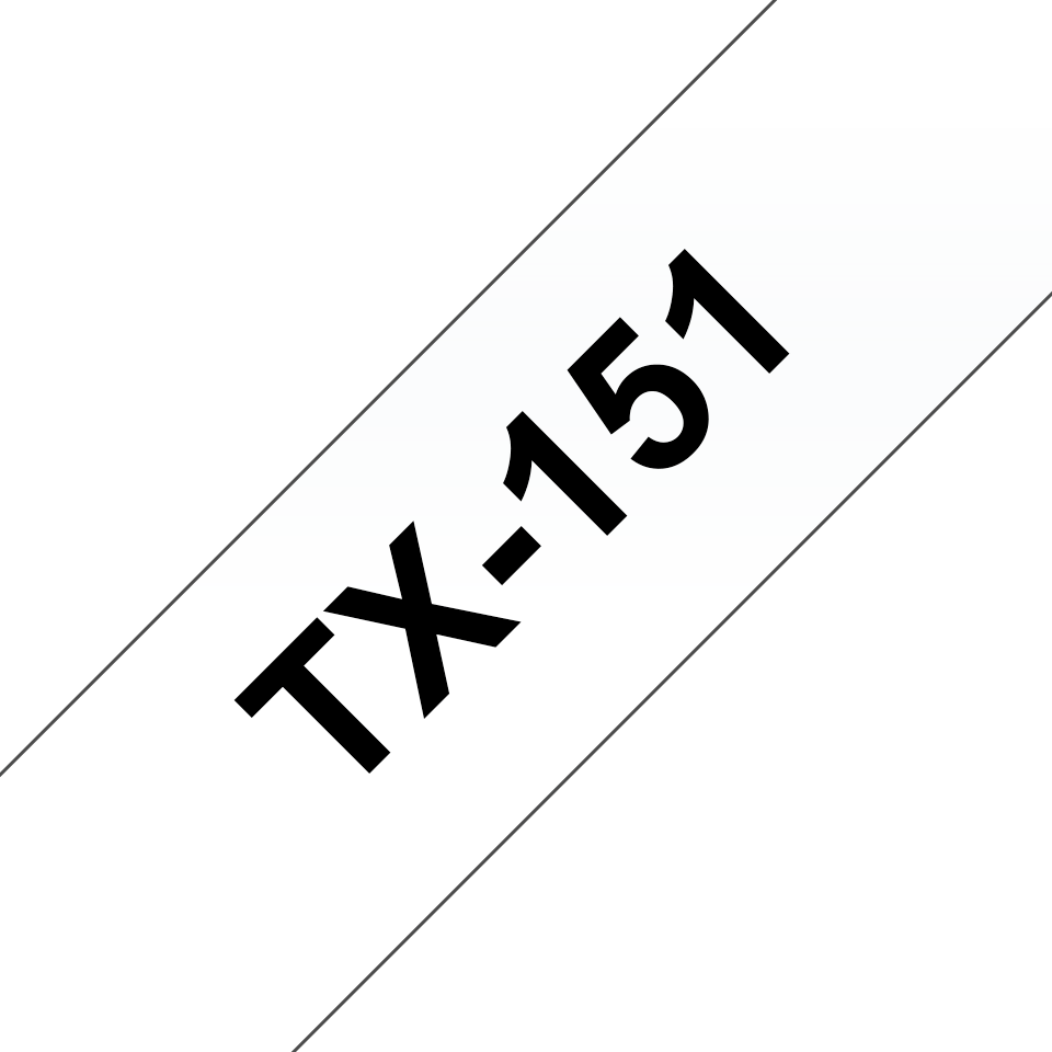Original Brother TX151 tape – sort på klar, 24 mm bred
