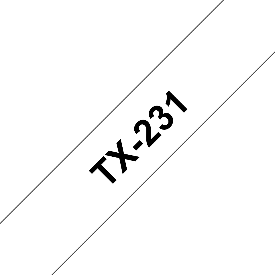 Original Brother TX231 tape – sort på hvid, 12 mm bred