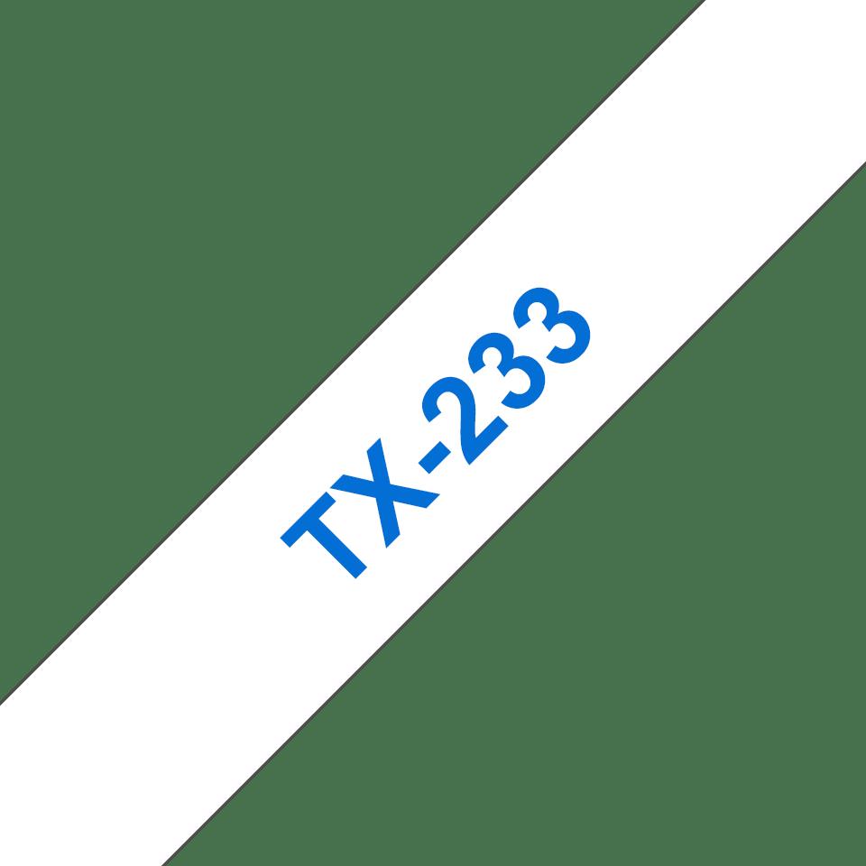 Original Brother TX233 tape - blå på hvid, 12 mm bred