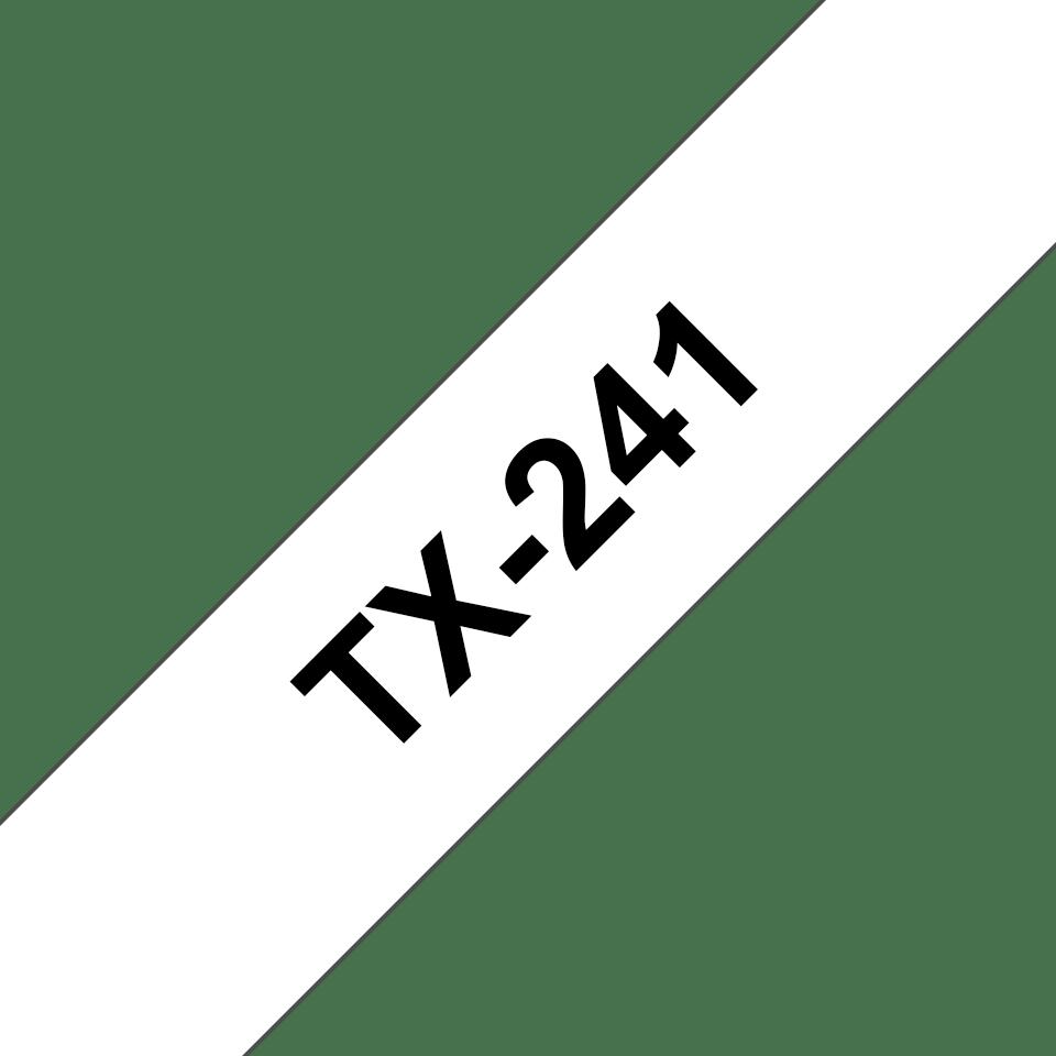 Original Brother TX241 tape – sort på hvid, 18 mm bred