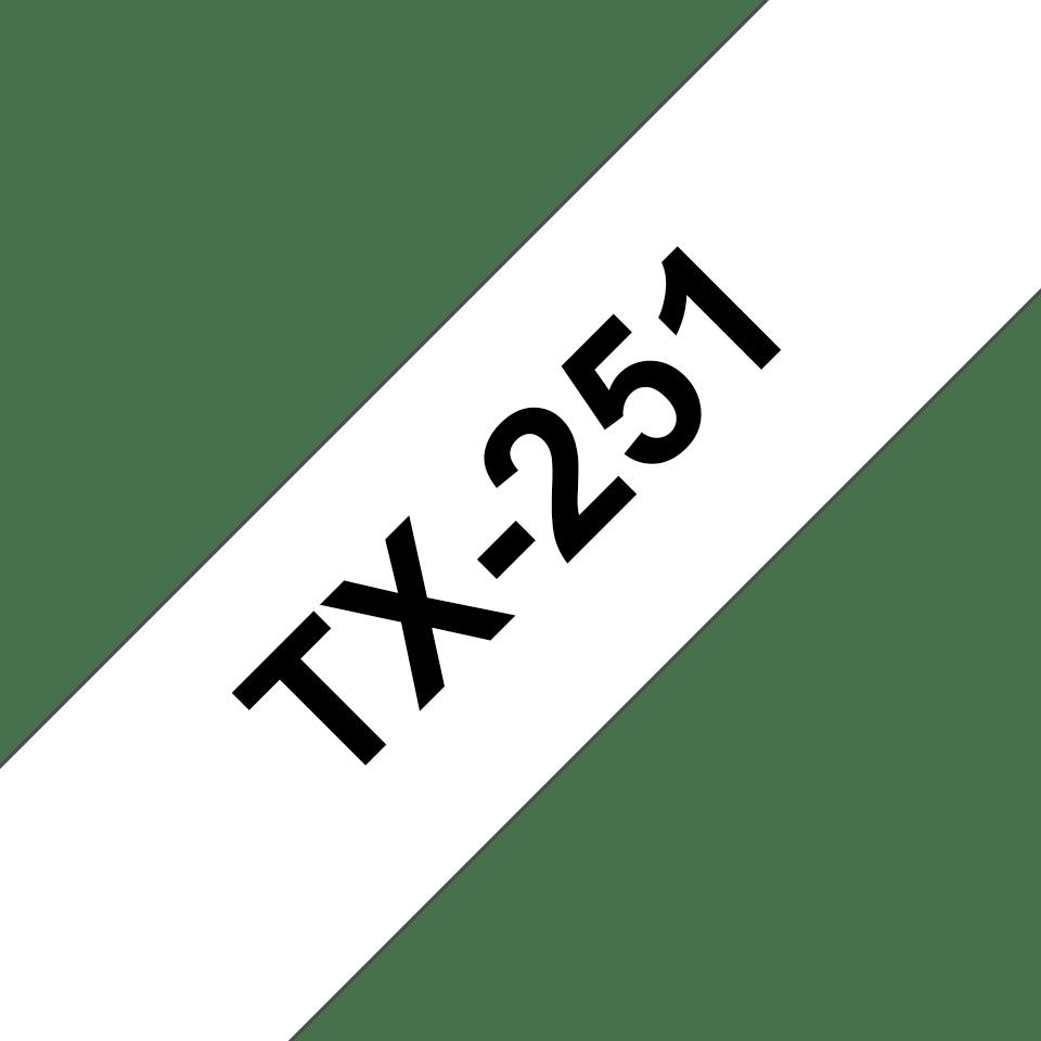 Original Brother TX-251 tape – sort på hvid, 24 mm bred