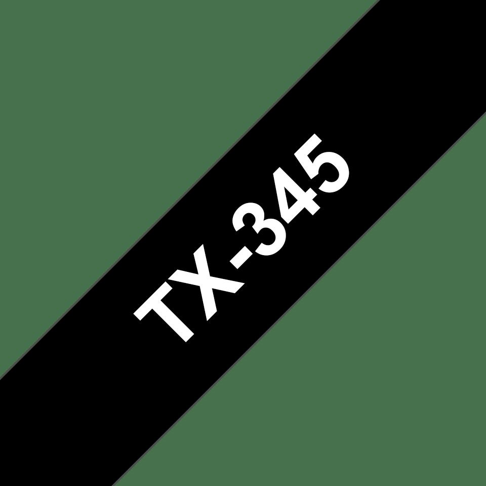 Original Brother TX345 tape – hvid på sort, 18 mm bred