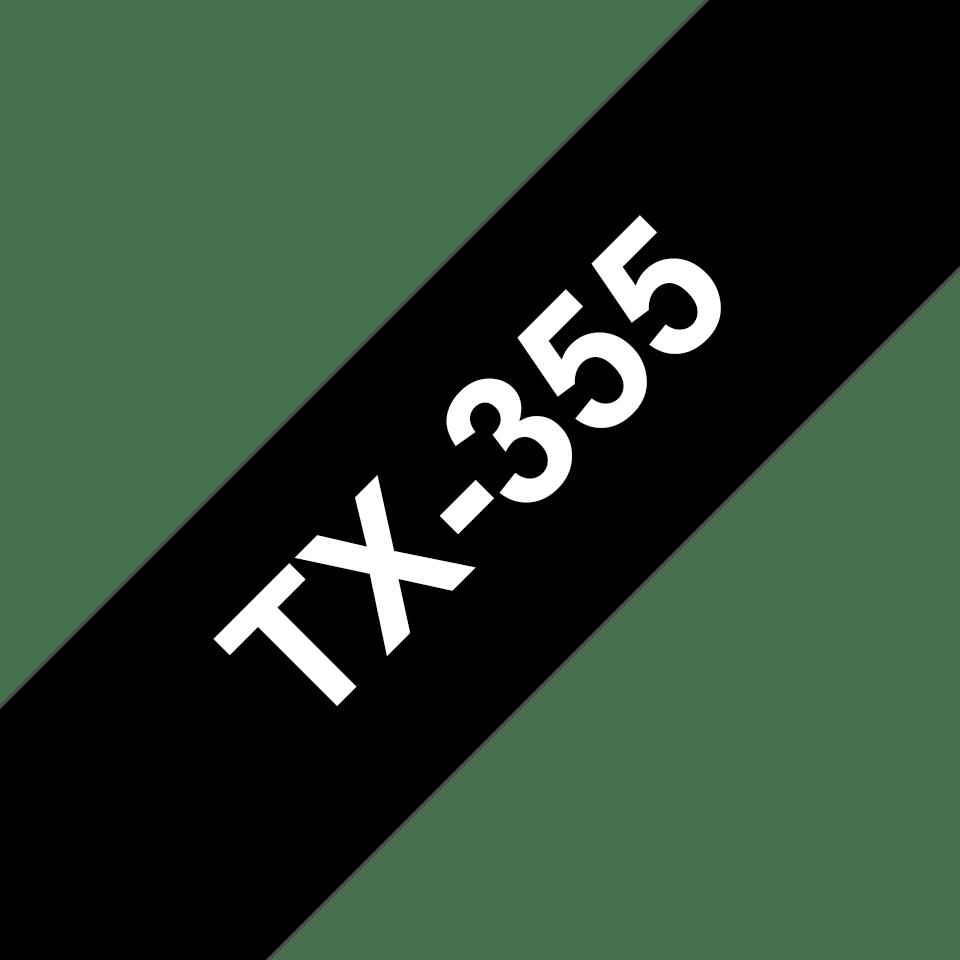 Original Brother TX355 tape – hvid på sort, 24 mm bred