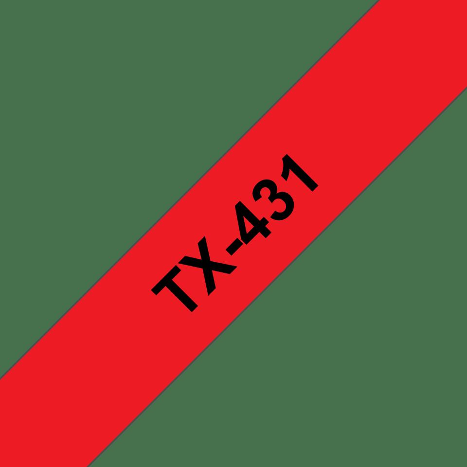 Original Brother TX431 tape – sort på rød, 12 mm bred