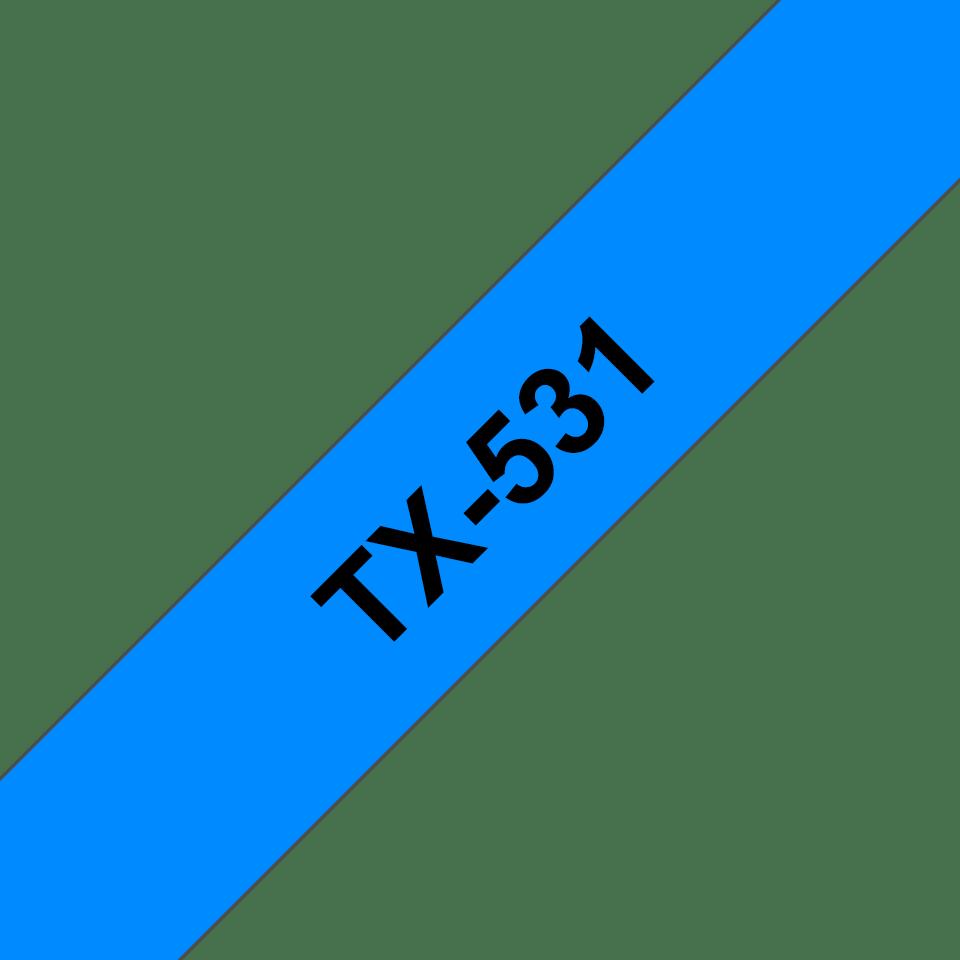 Original Brother TX-531 tape – sort på blå, 12 mm bred