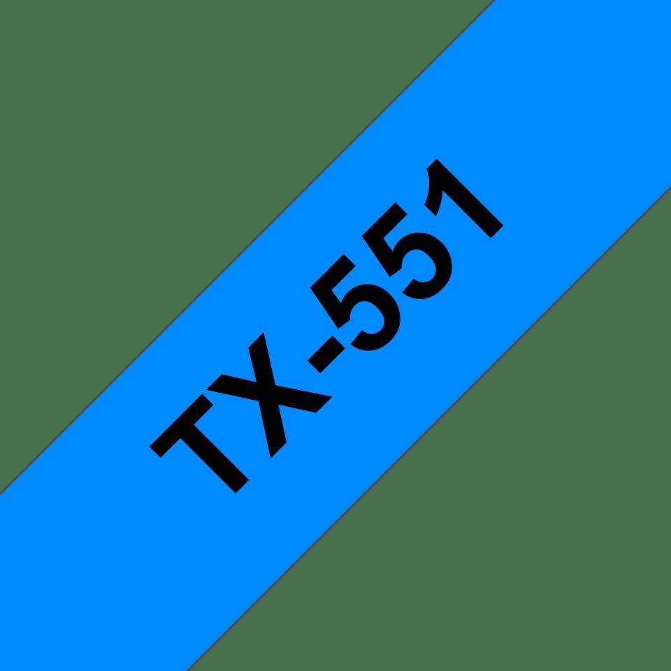 Original Brother TX551 tape – sort på blå, 24 mm bred