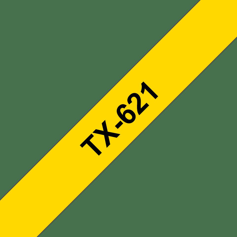 Original Brother TX621 tape – sort på gul, 9 mm bred