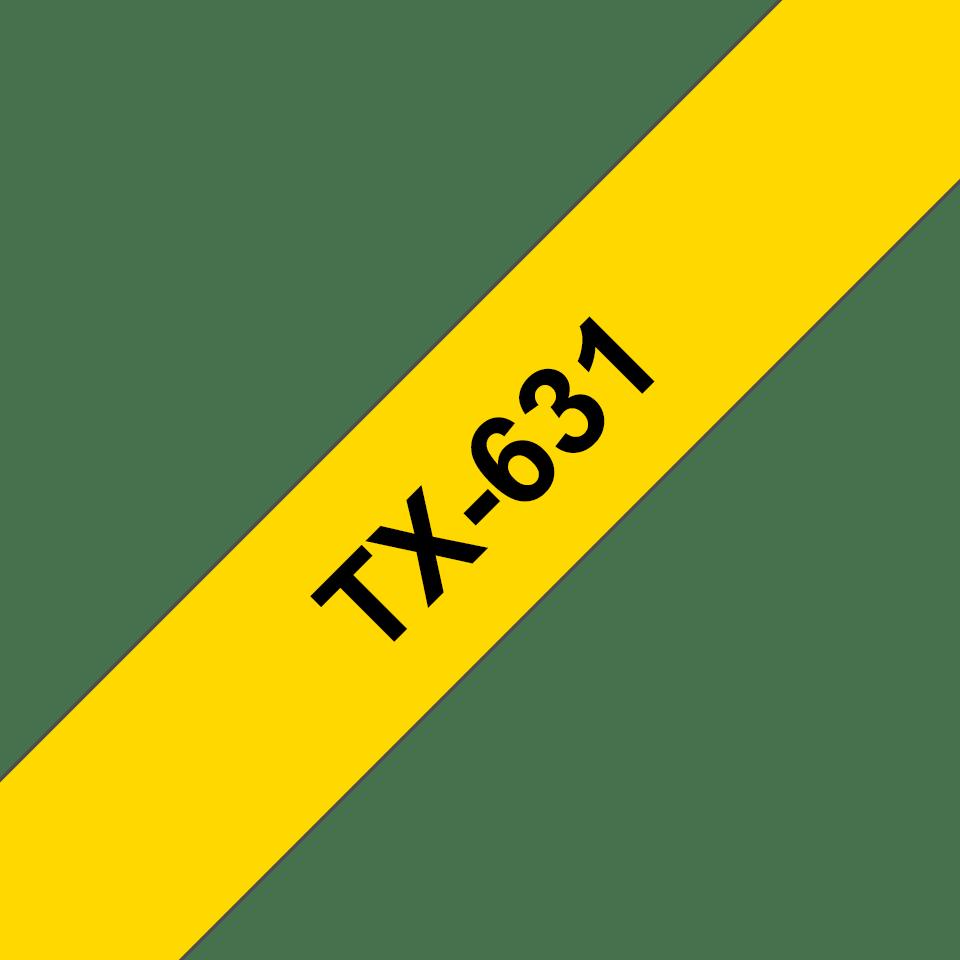 Original Brother TX631 tape – sort på gul, 12 mm bred
