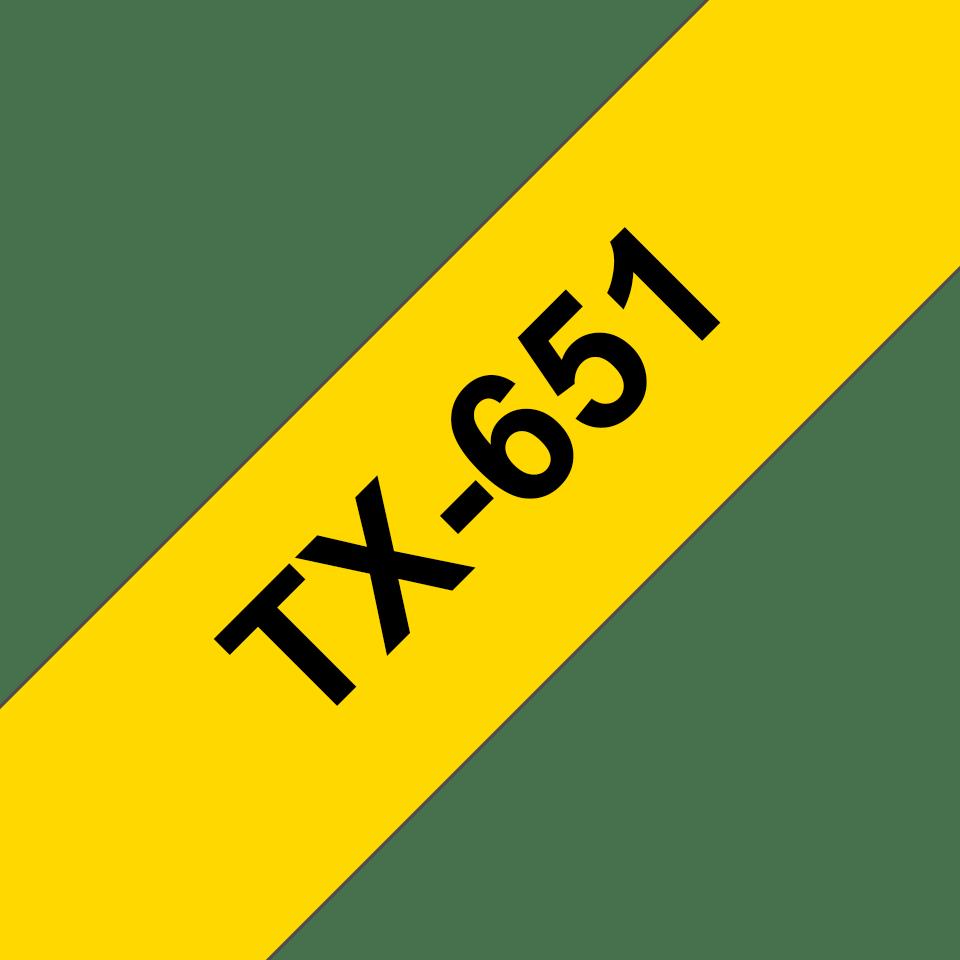 Original Brother TX-651 tape – sort på gul, 24 mm bred