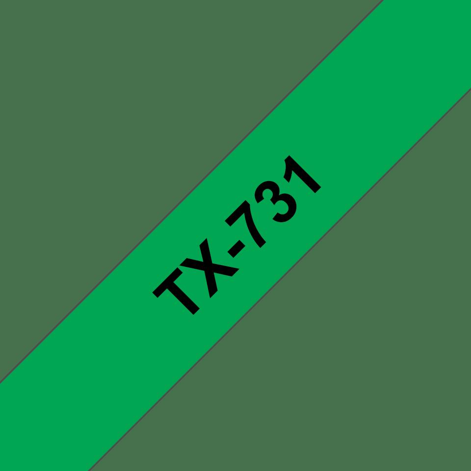 Original Brother TX731 tape – sort på grøn, 12 mm bred