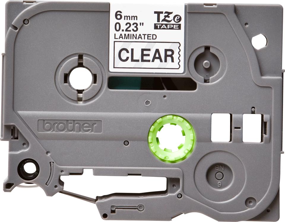 Original Brother TZe111 tape – sort på klar, 6 mm bred 2