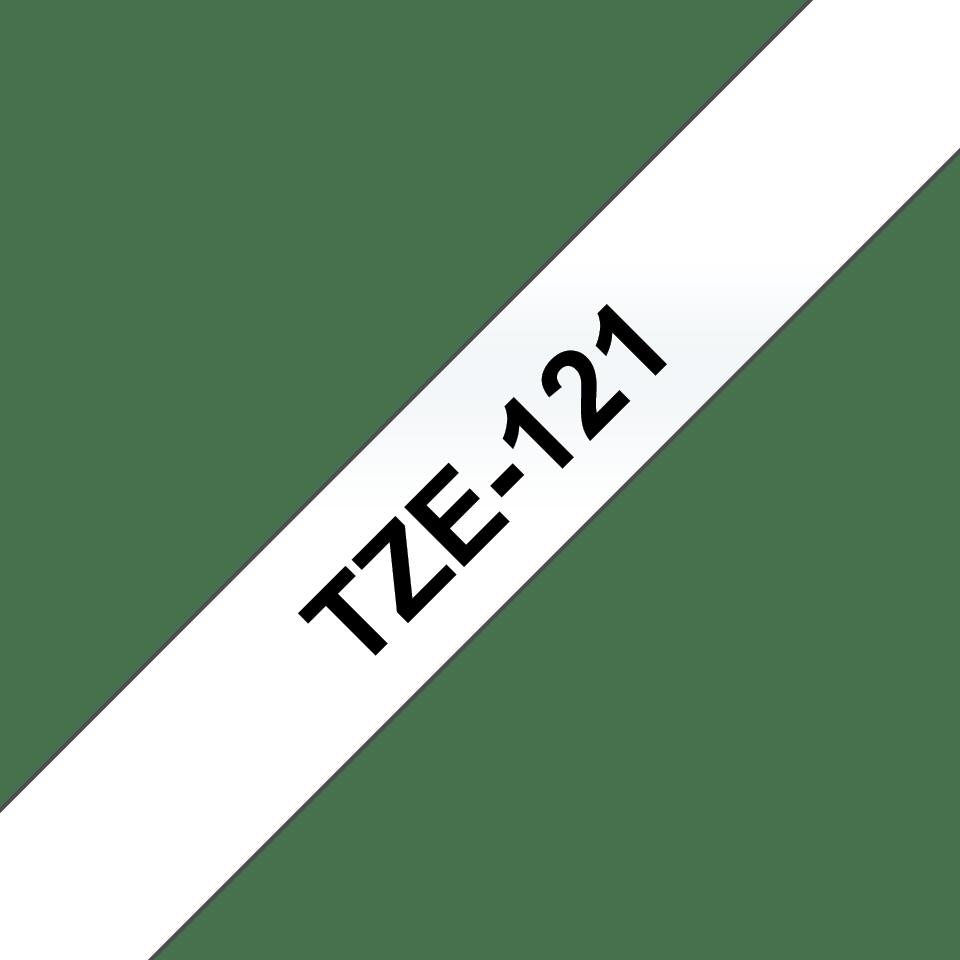 Original Brother TZe121 tape – sort på klar, 9 mm bred