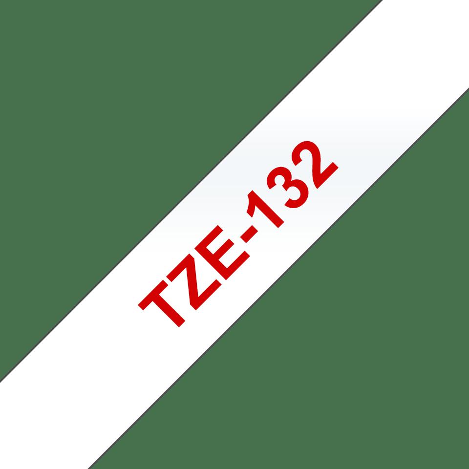 Original Brother TZe132 tape – rød tekst på klar tape, 12 mm bred