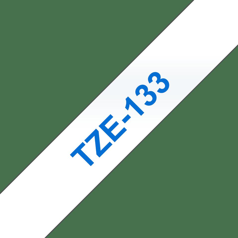 Original Brother TZe133 tape – blå på klar, 12 mm bred