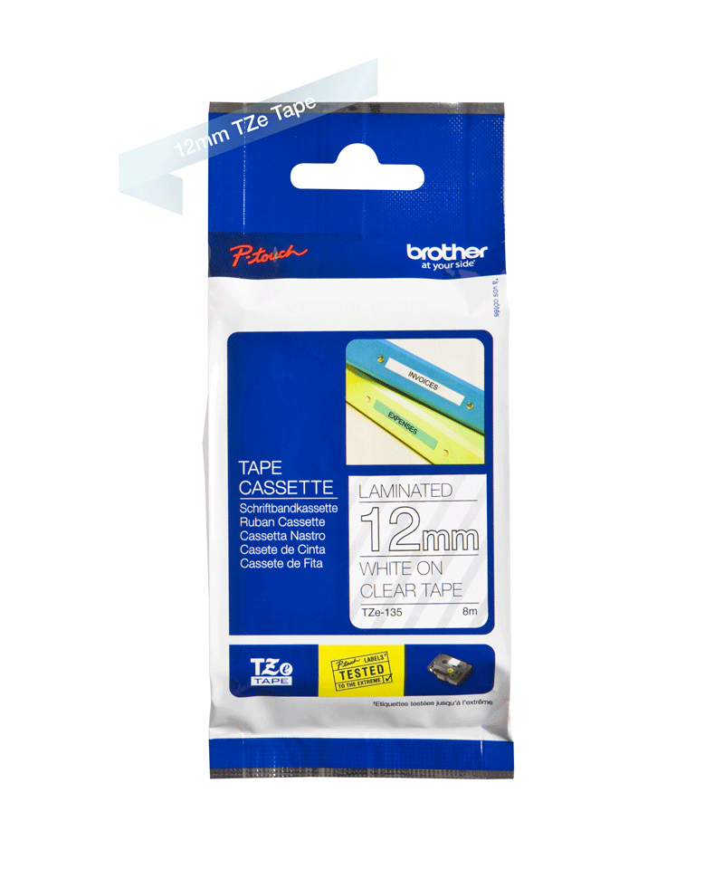 Original Brother TZe135 tape – hvid på klar, 12 mm bred 2