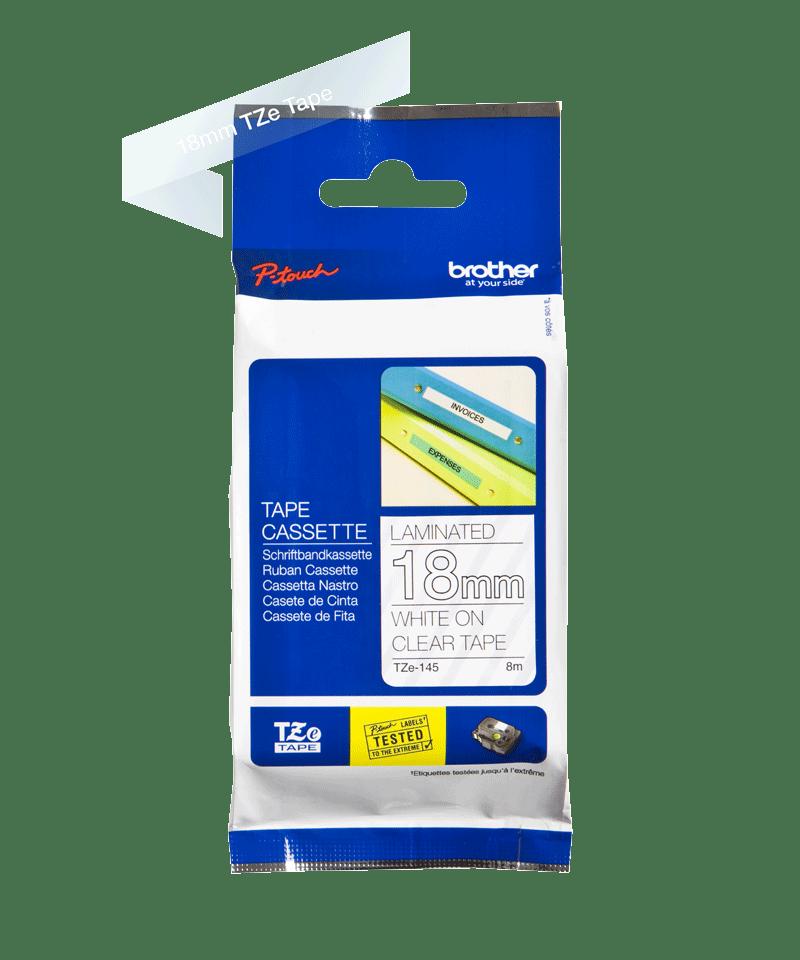 Original Brother TZe145 tape – hvid på klar, 18 mm bred 3