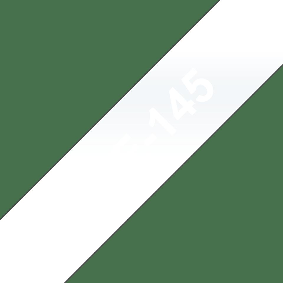 Original Brother TZe145 tape – hvid på klar, 18 mm bred