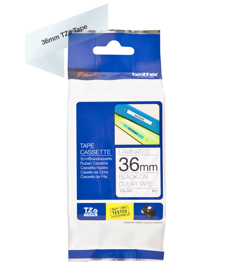 Original Brother TZe161 tape – sort på klar, 36 mm bred 3