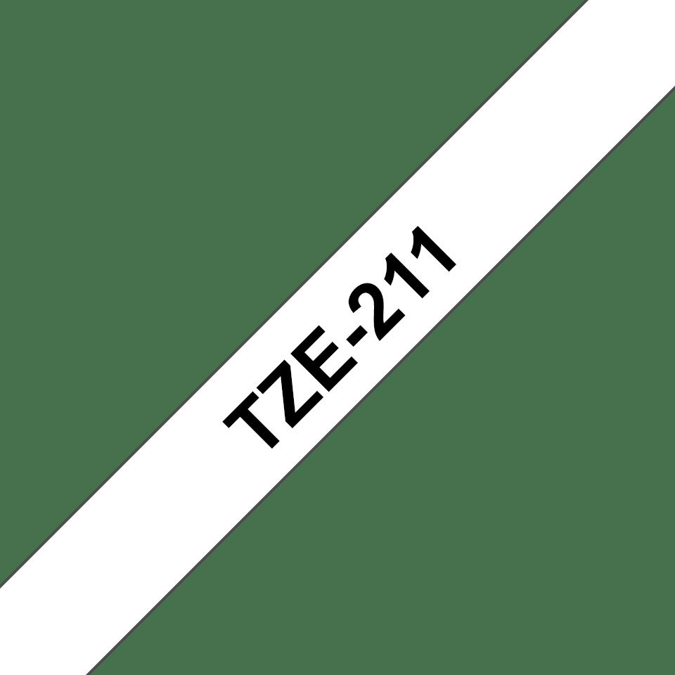 Original Brother TZe211 tape – sort på hvid, 6 mm bred