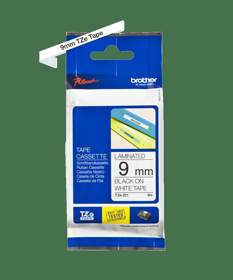 Original Brother TZe-221 tape – sort på hvid, 9 mm bred 3