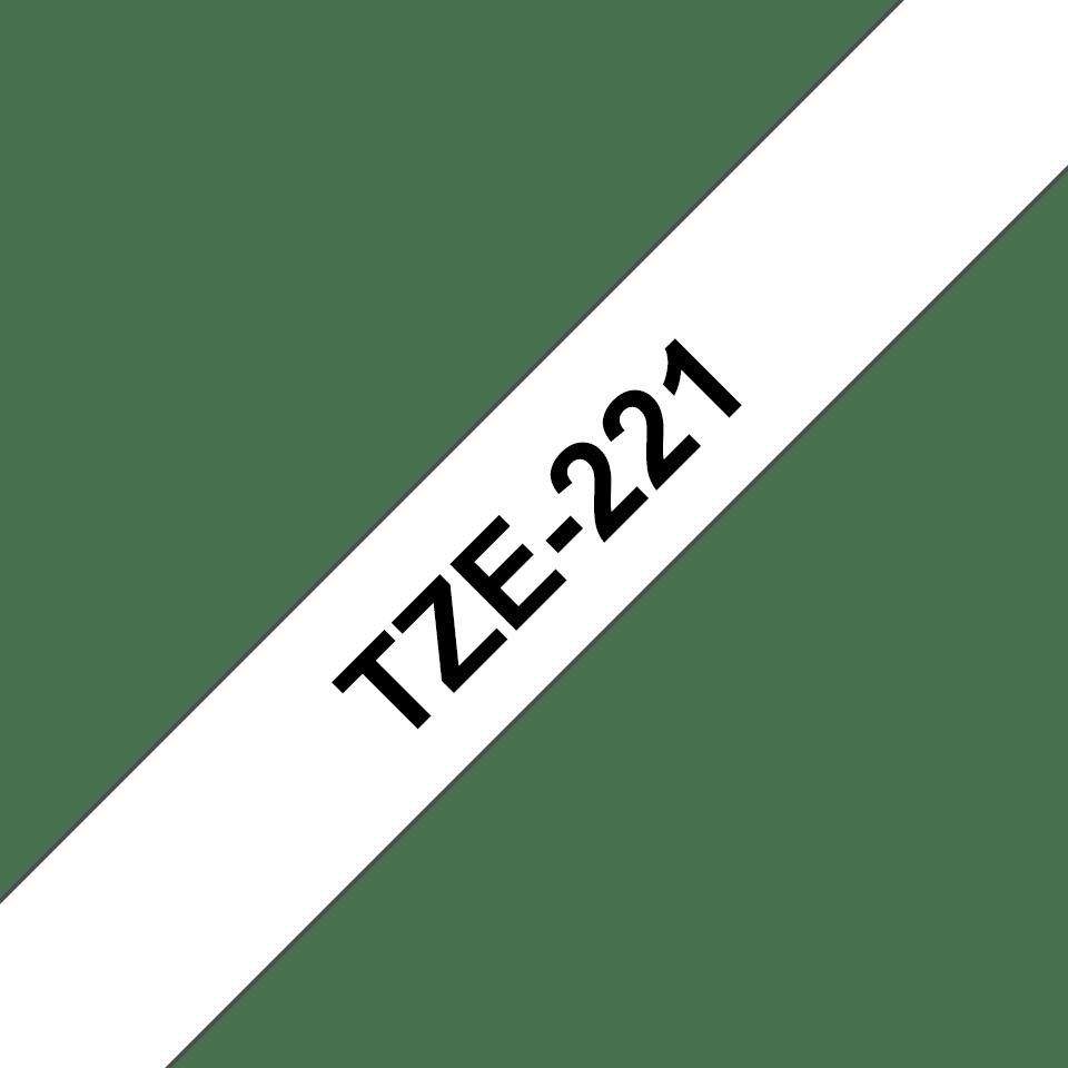 Original Brother TZe-221 tape – sort på hvid, 9 mm bred