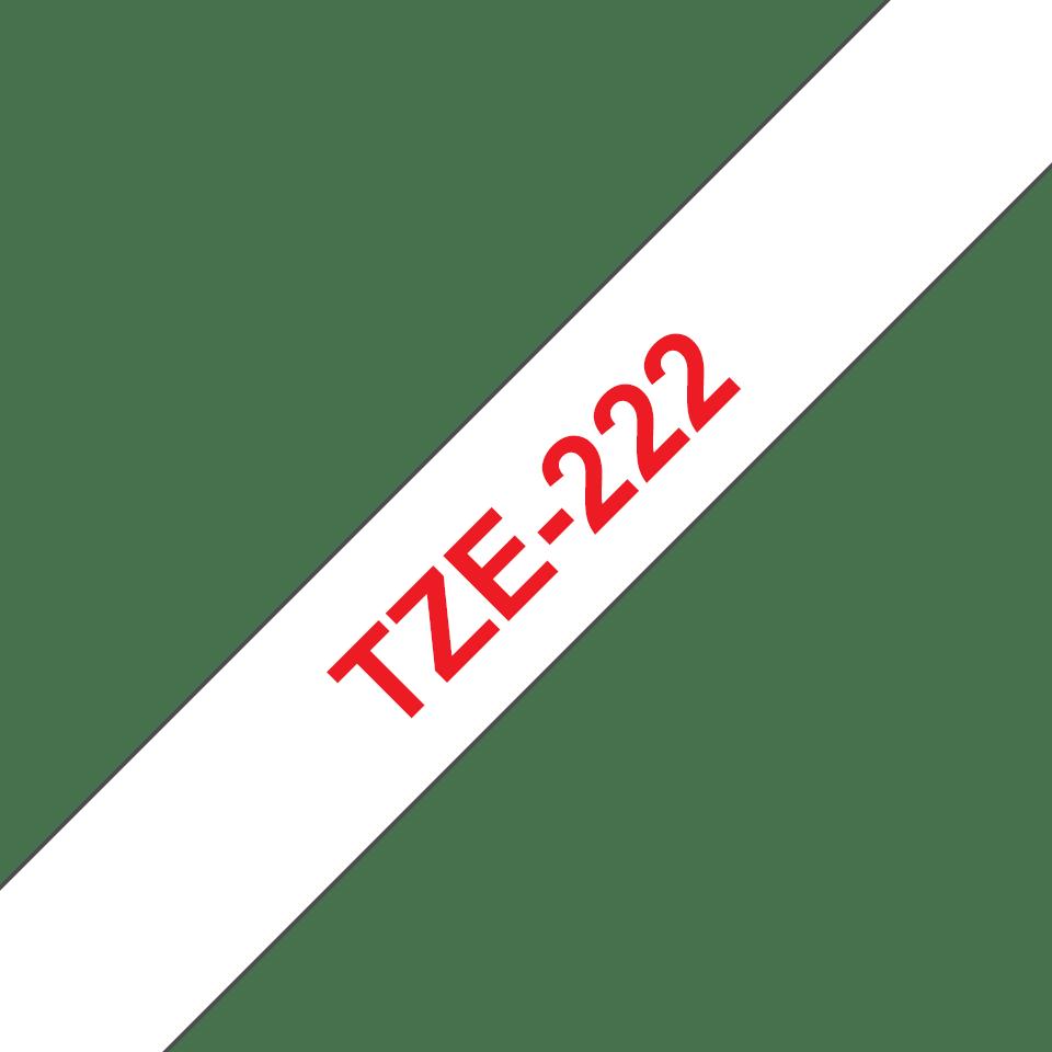 Original Brother TZe222 tape – rød på hvid, 9 mm bred