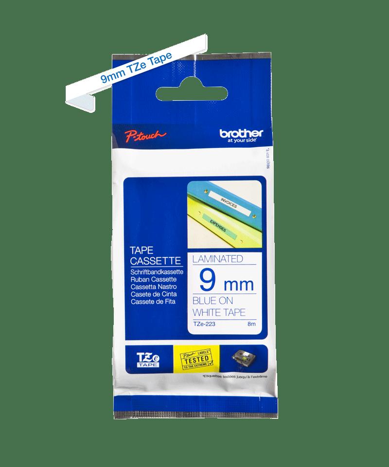 Original Brother TZe223 tape – blå på hvid, 9 mm bred 3