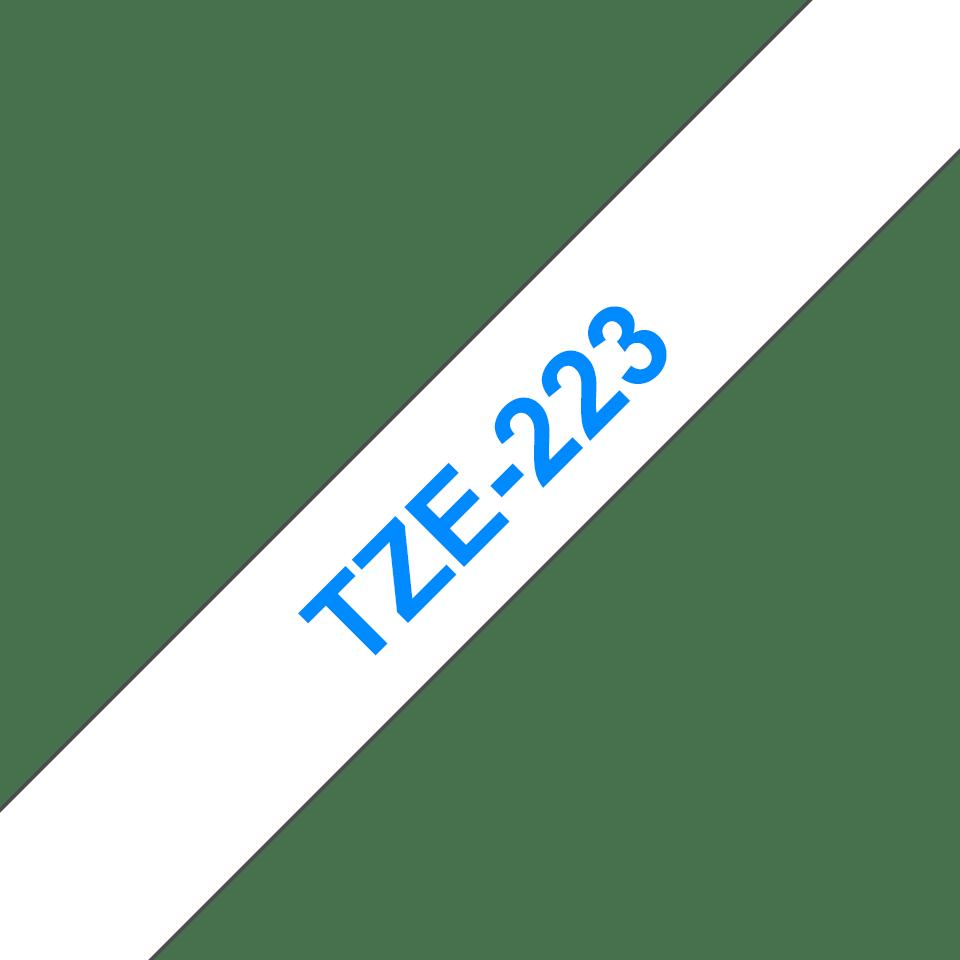 Original Brother TZe223 tape – blå på hvid, 9 mm bred