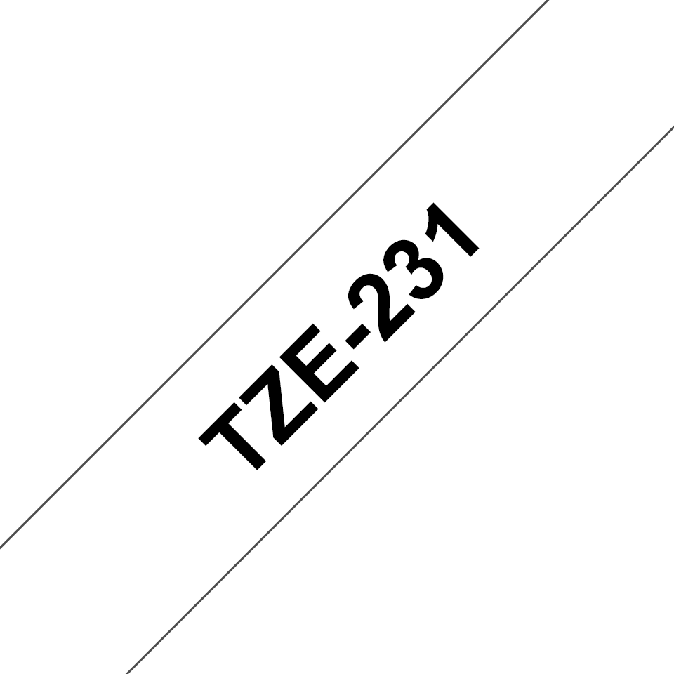 Original Brother TZe-231 tape – sort på hvid, 12 mm bred