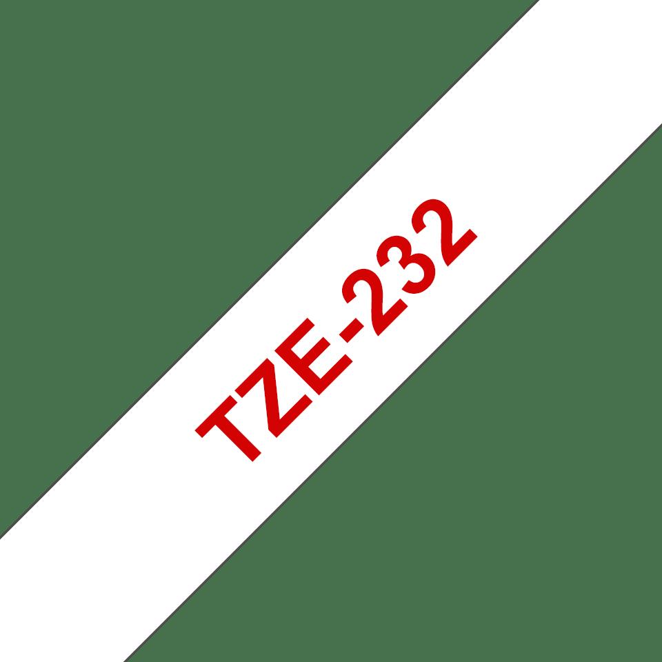 Original Brother TZe232 tape – rød på hvid, 12 mm bred