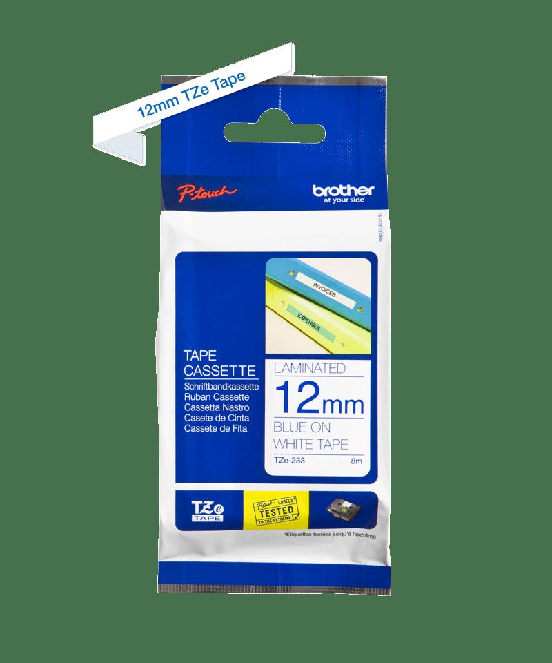 Original Brother TZe233 tape – blå på hvid, 12 mm bred 3