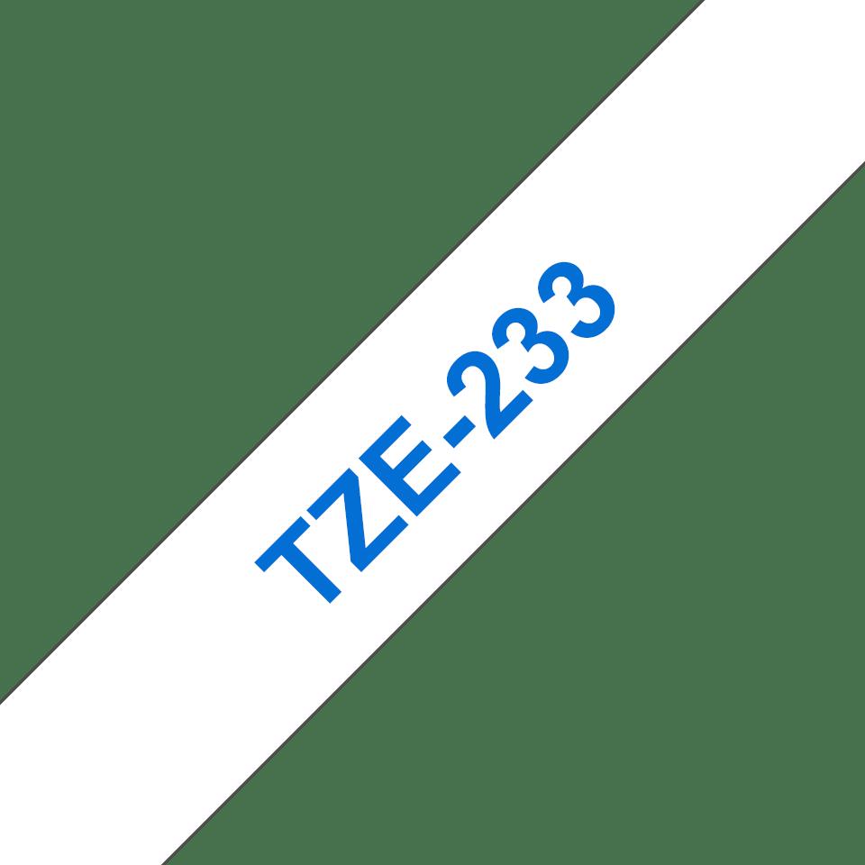 Original Brother TZe233 tape – blå på hvid, 12 mm bred