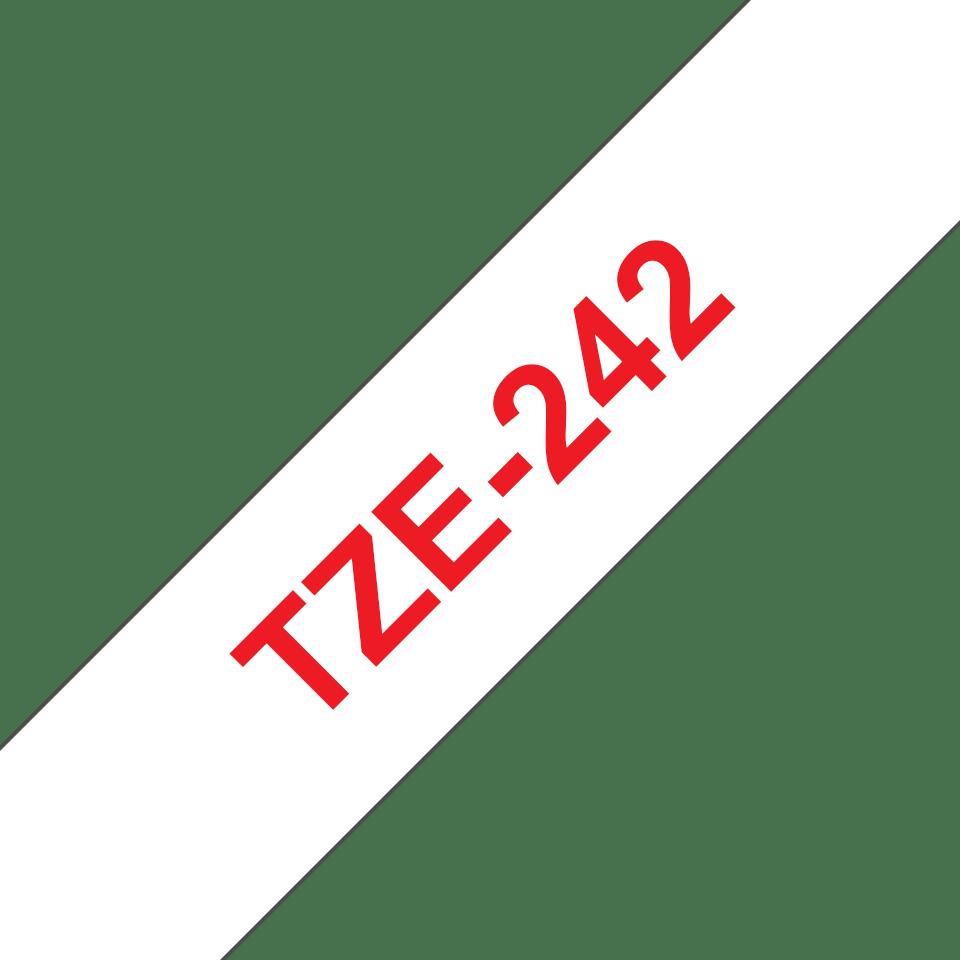 Original Brother TZe242 tape – rød på hvid, 18 mm bred 3