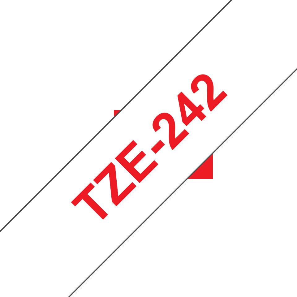 Original Brother TZe242 tape – rød på hvid, 18 mm bred