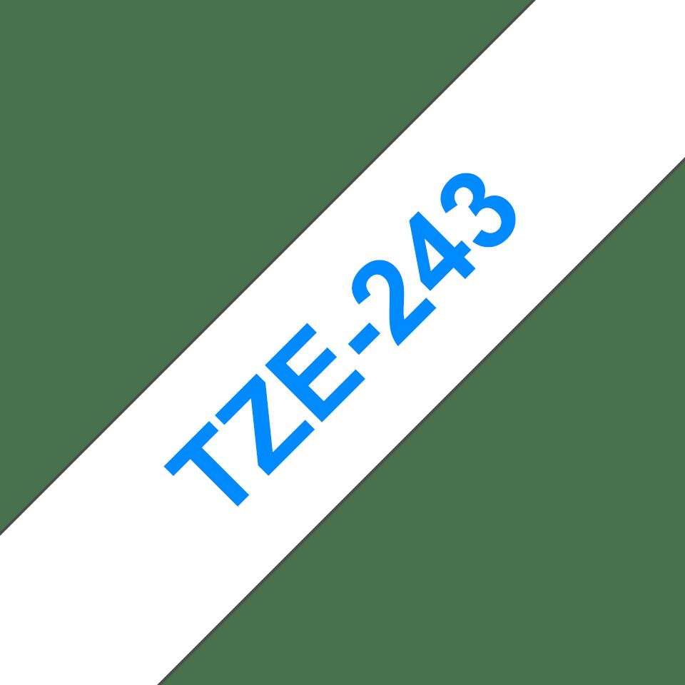 Original Brother TZe243 tape – blå på hvid, 18 mm bred