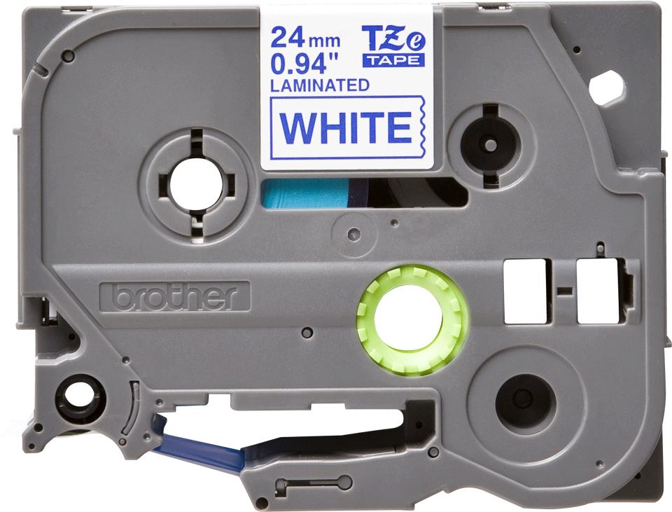 Original Brother TZe253 tape – blå på hvid, 24 mm bred