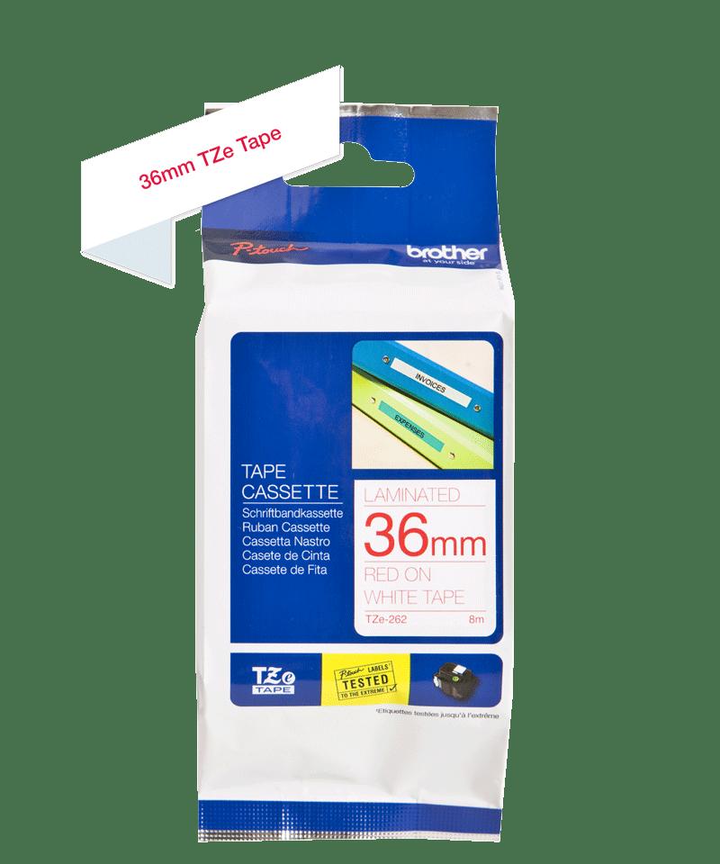 Original Brother TZe262 tape – rød på hvid, 36 mm bred 3