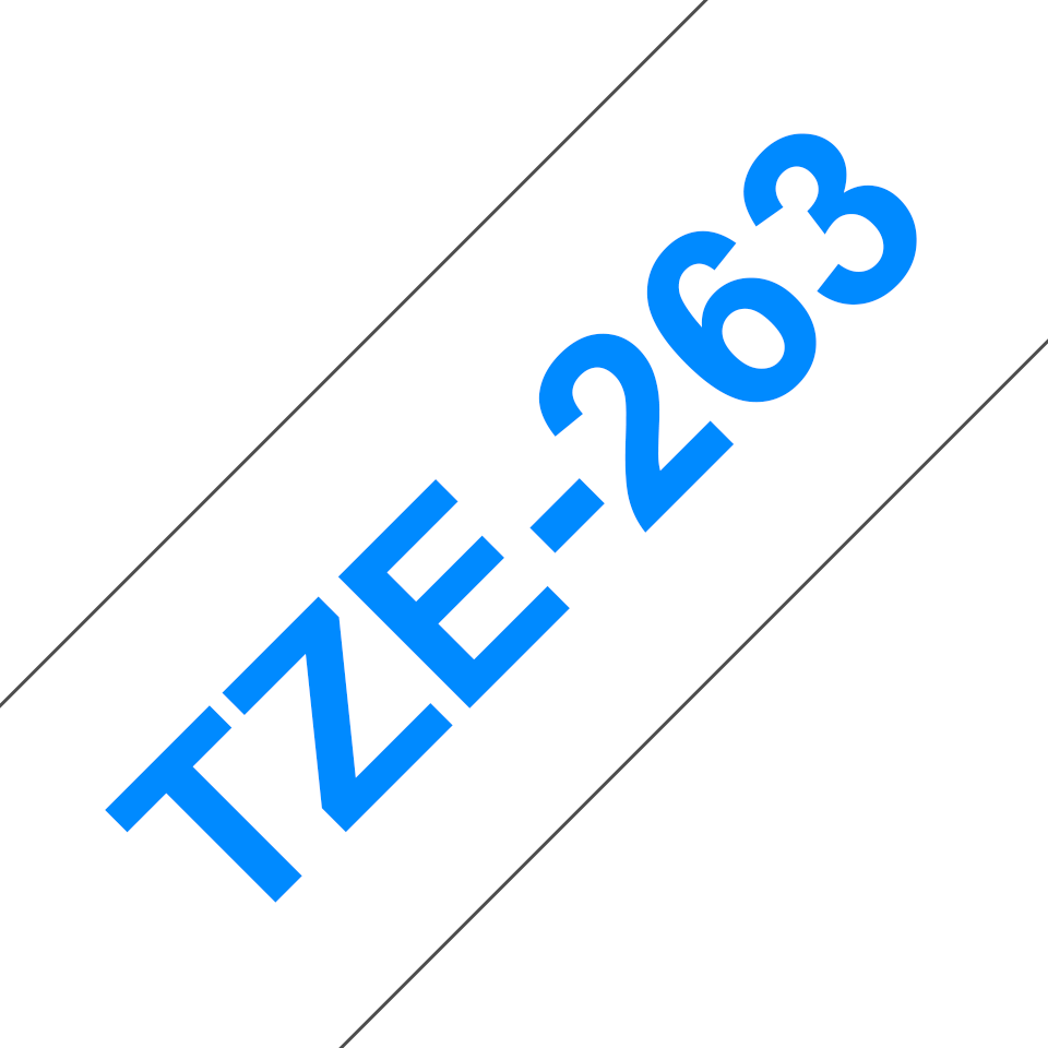 Original Brother TZe263 tape – blå på hvid, 36 mm bred