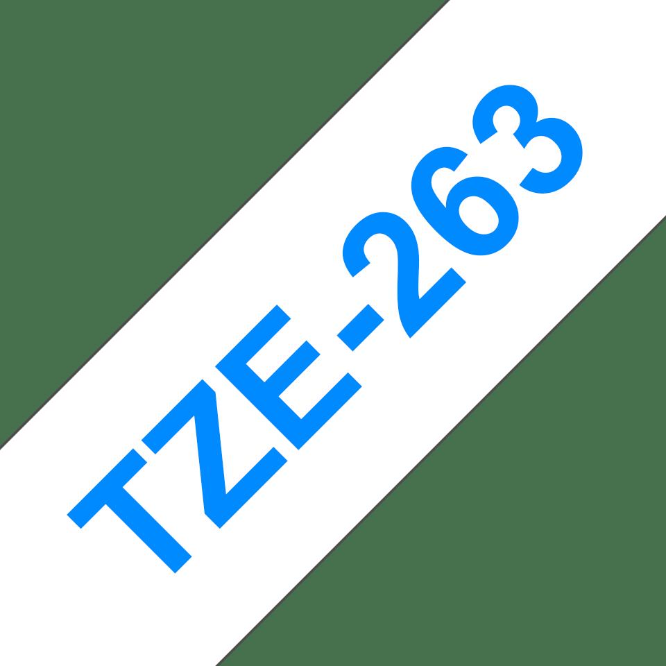 Original Brother TZe263 tape – blå på hvid, 36 mm bred 3