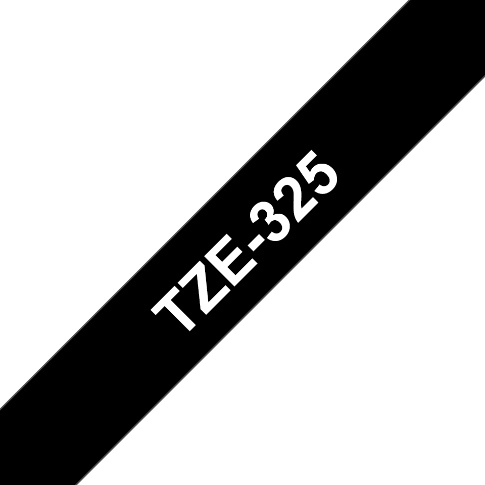 Original Brother TZe325 tape – hvid på sort, 9 mm bred