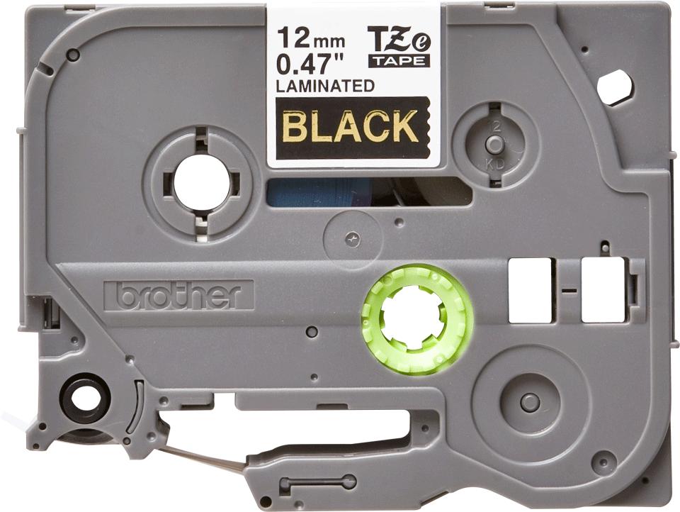 Original Brother TZe334 tape – guld på sort, 12 mm bred