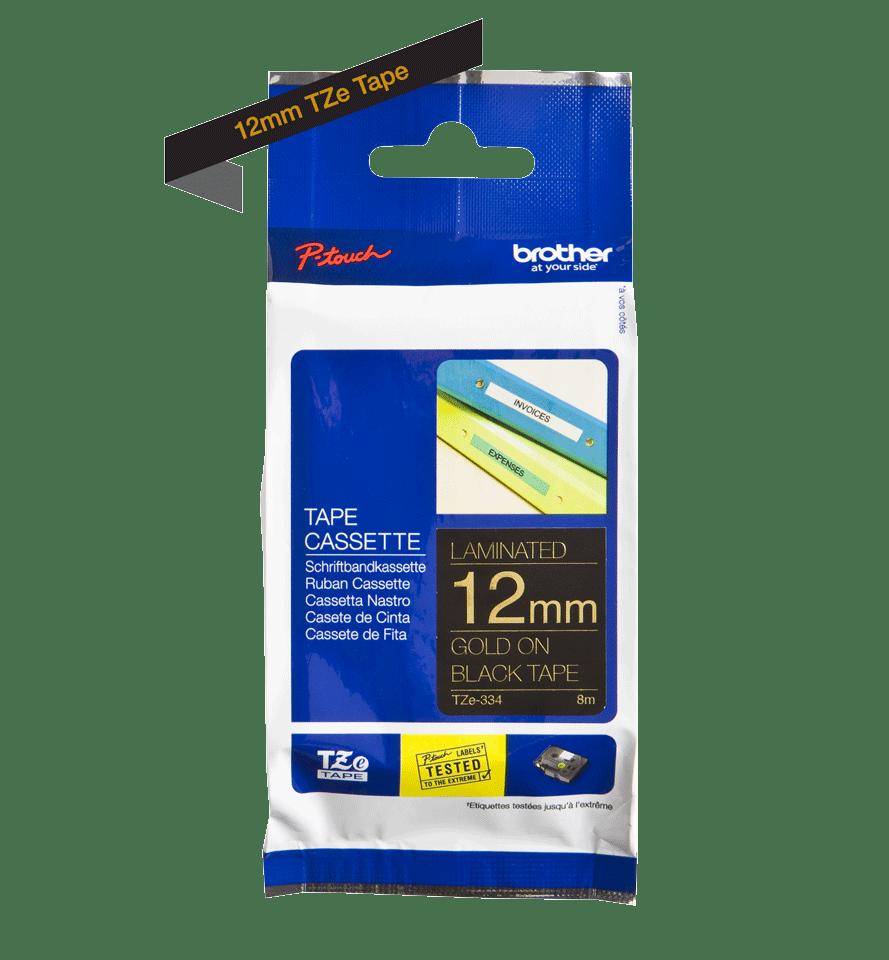 Original Brother TZe334 tape – guld på sort, 12 mm bred 2