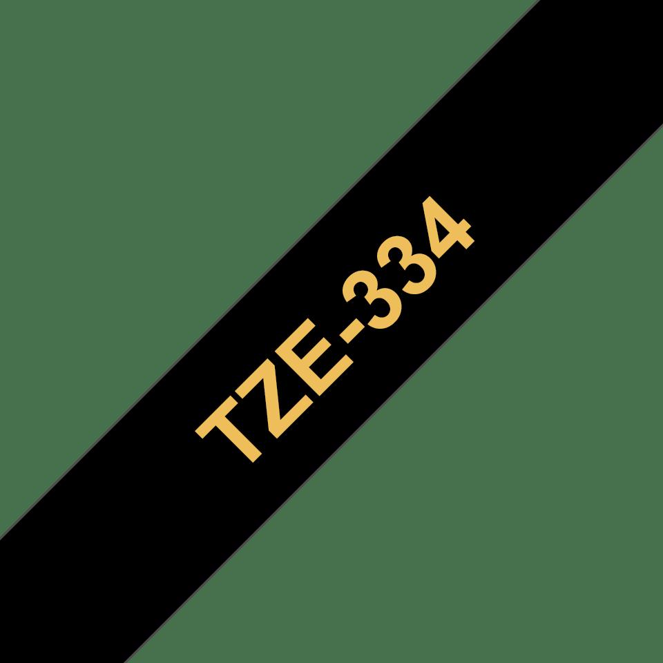 Original Brother TZe334 tape – guld på sort, 12 mm bred 3