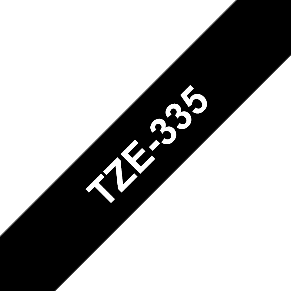 Original Brother TZe-335 tape – hvid på sort, 12 mm bred 3