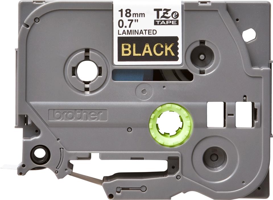 Original Brother TZe344 tape – guld på sort, 18 mm bred