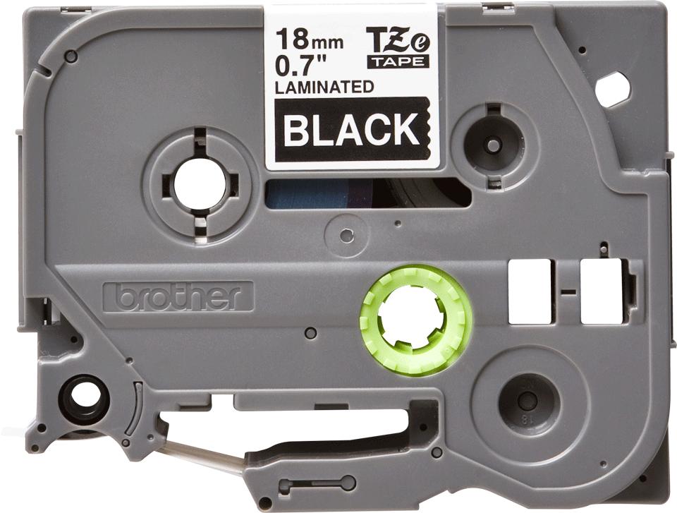 Original Brother TZe345 tape – hvid på sort, 18 mm bred