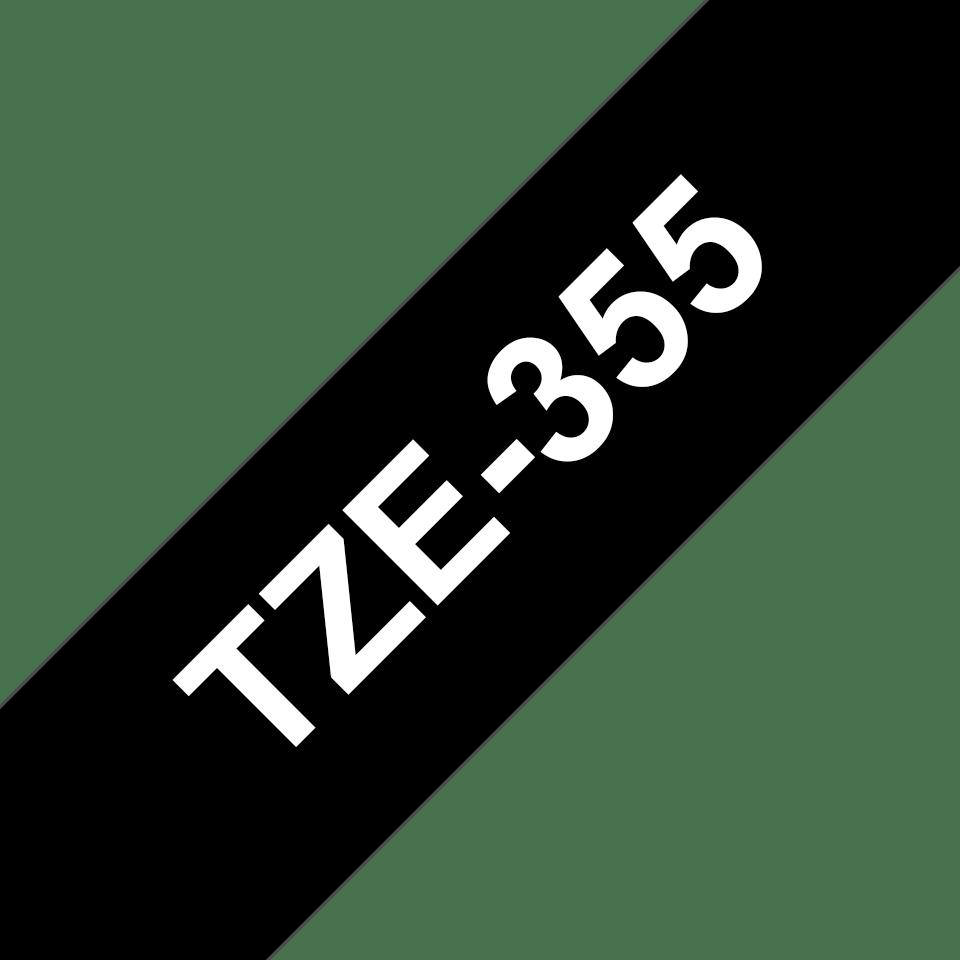 Original Brother TZe355 tape – hvid på sort, 24 mm bred