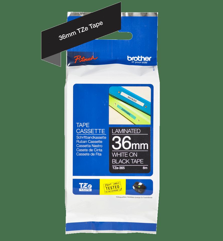 Original Brother TZe365 tape – hvid på sort, 36 mm bred 2