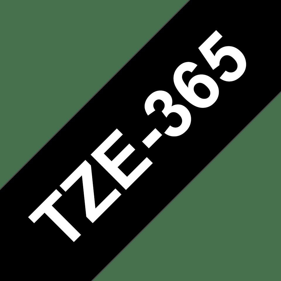 Original Brother TZe365 tape – hvid på sort, 36 mm bred