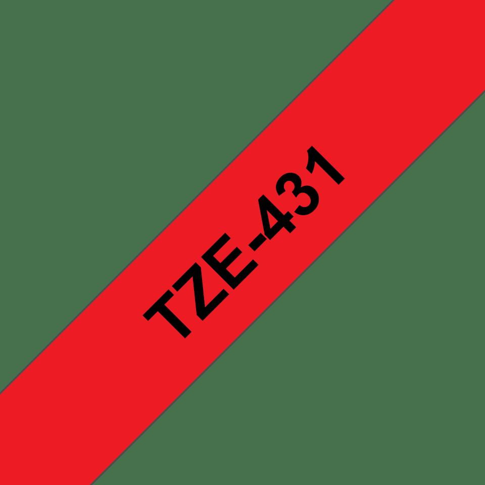 Original Brother TZe431 tape – sort på rød, 12 mm bred